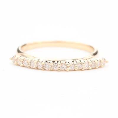14K Yellow Gold Diamond Stackable Band