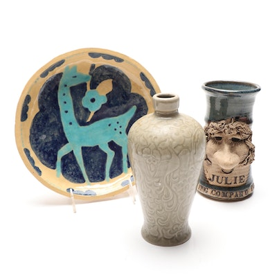 Decorative Plate, Figural Mug and An Asian Style Urn