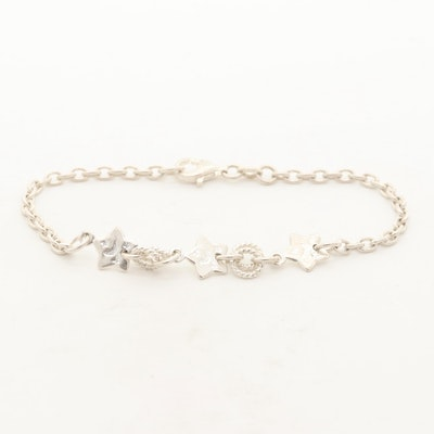 Sterling Silver Moon and Stars on Stars Bracelet