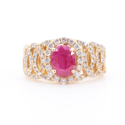 14K Yellow Gold Ruby and 1.00 CTW Diamond Ring