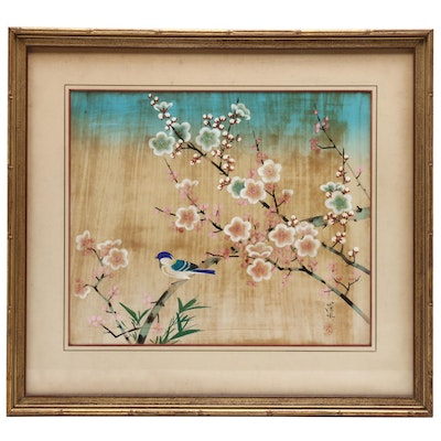 Japanese Gouache Painting of Bird and Cherry Blossoms