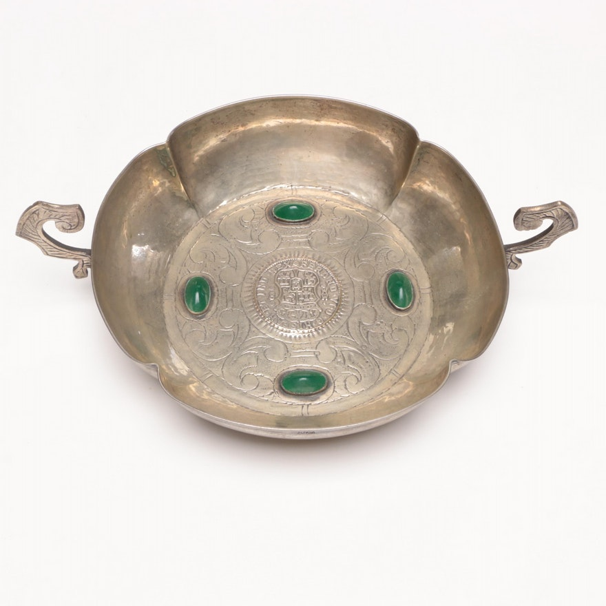 Spanish-Mexican Commemorative Ferdinand VI Silver Plated Bowl, 19th Century