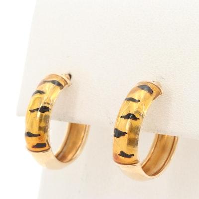 14K Yellow Gold Enamel Hoop Earrings