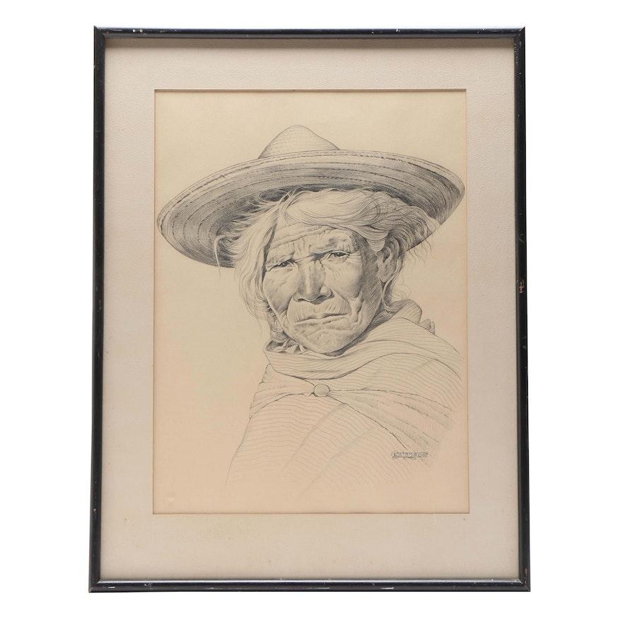 Luis Betanzos Portrait Conte Drawing