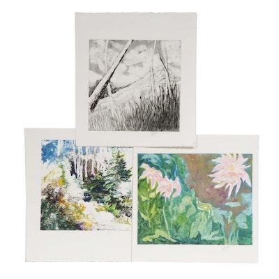 Patty Sheehan Impressionist Style Nature Scene Monoprints