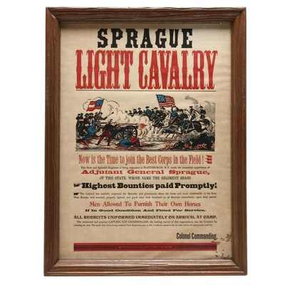 "Letterpress Reproduction after Civil War Poster ""Sprague Light Cavalry"""