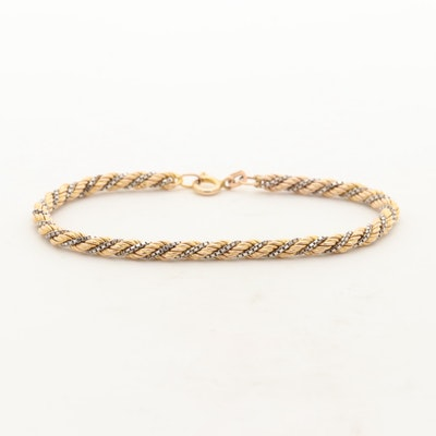14K Yellow and White Gold Box and Twisted Rope Bracelet