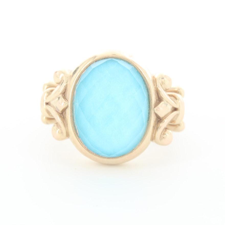 14K Yellow Gold Quartz Turquoise Triplet Ring