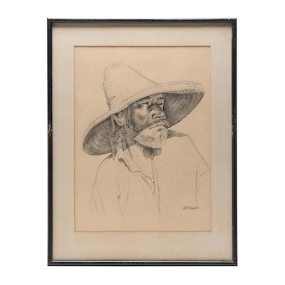Luis Betanzos Conte Crayon Portrait Drawing of Man in Sombrero