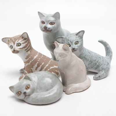 POD and Anderson Art Pottery and Earthenware Cat Figurines