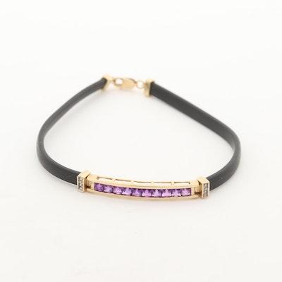 10K Yellow Gold Amethyst and Diamond Bracelet