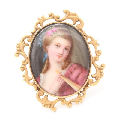 Mid-Victorian 14K Yellow Gold Painted Porcelain Portrait Brooch