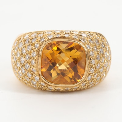 18K Yellow Gold Citrine and 2.03 CTW Diamond Ring