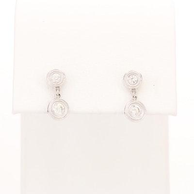 Beny Sofer 14K White Gold Diamond Dangle Earrings with Milgrain Bezels
