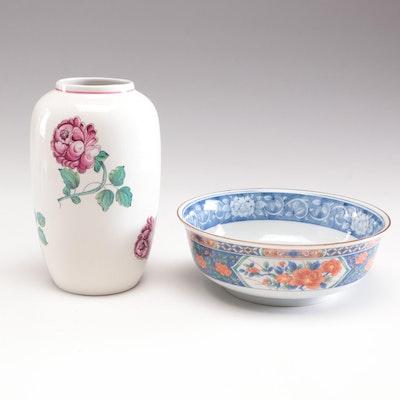 """Tiffany & Co. """"Strasbourg Flowers"""" Stoneware Vase and """"Imari"""" Porcelain Bowl"""