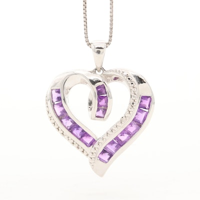 Sterling Silver Amethyst and Diamond Heart Pendant Necklace