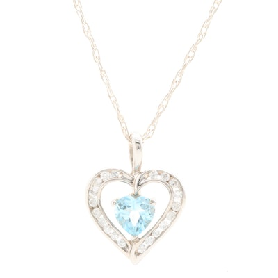 Sterling Silver Topaz and Cubic Zirconia Heart Pendant Necklace