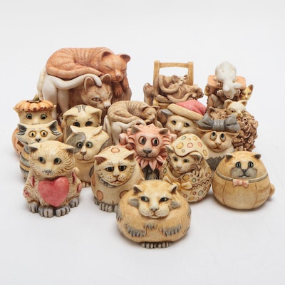 Pot Bellys and Harmony Kingdom Resin Cat Figurines, Mid to Late 20th Century