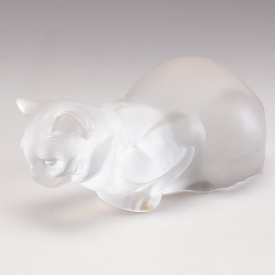 Lalique Crystal Cat, Mid to Late 20th Century