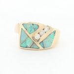 14K Yellow Gold Diamond and Opal Doublet Ring