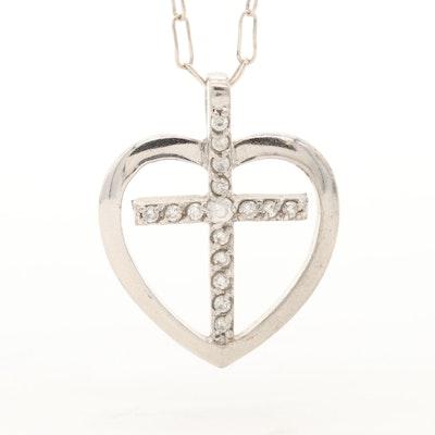 Sterling Silver Cubic Zirconia Cross Heart Pendant Necklace