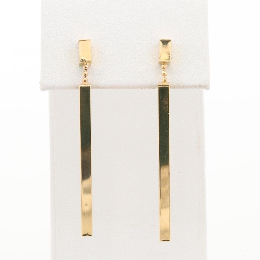 18K Yellow Gold Drop Bar Earrings