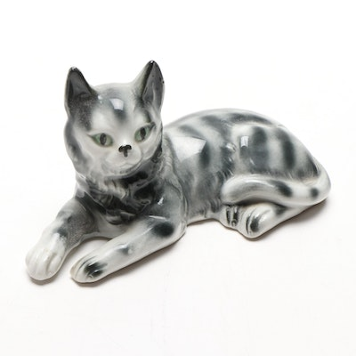 Porcelain Cat Figurine, Early 20th Century