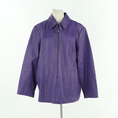 Dialogue Purple Leather Car Coat