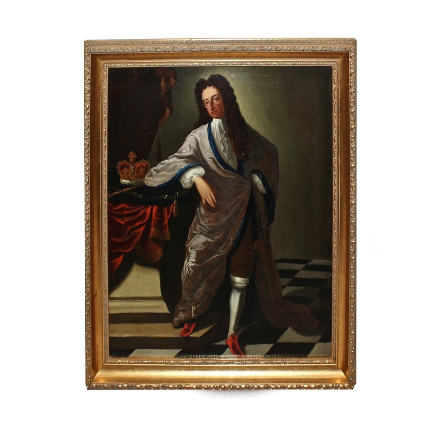 17th Century Portrait Oil Painting of King James II