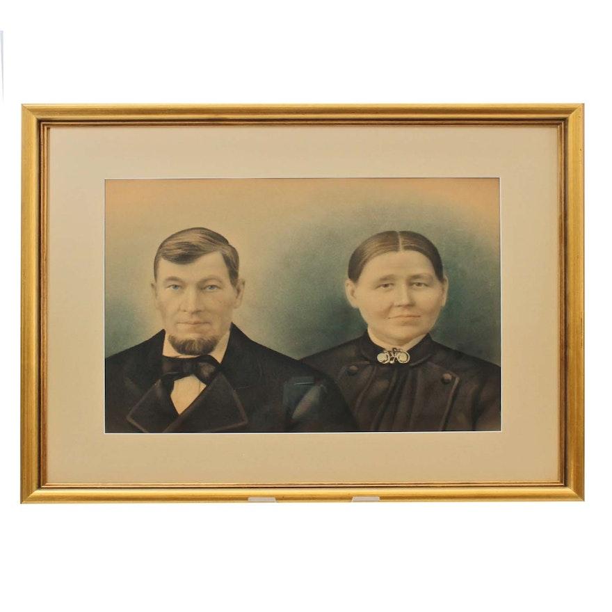 19th Century Portrait Watercolor Painting