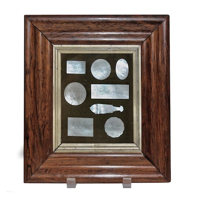 Chinese Carved Mother of Pearl Game Pieces in 19th Century Rosewood Frame