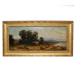 19th Century Oil Painting of Pastoral Landscape