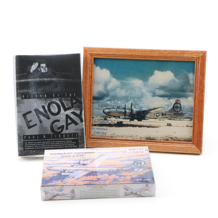 Enola Gay and Paul Tibbets Collection Featuring Book, Model Kit and Photograph