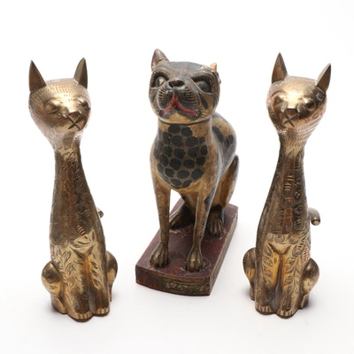 Pair of Indian Brass Finish Cat Figurines with Painted Wood Cat Figurine