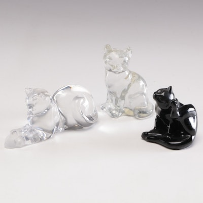 Hadeland, Fenton and Lenox Glass and Crystal Cat Figurines