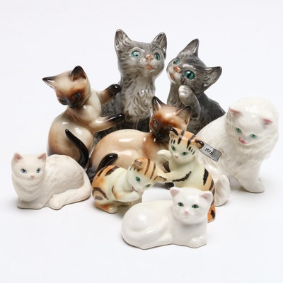 "Goebel Porcelain Cat Figurines Featuring ""Mitzi"" and Others"