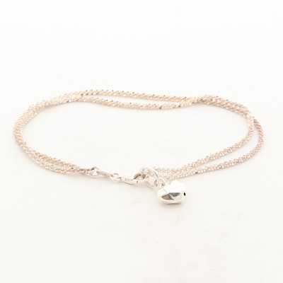 Sterling Silver Double Strand Anklet with Puff Heart Charm