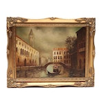 V. Castello Oil Painting of Canal Scene with Gondola