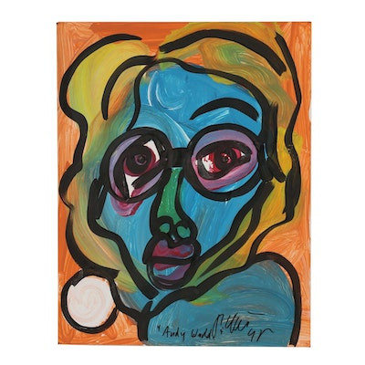 "Peter Keil 1995 Abstract Acrylic Painting ""Andy Warhol"""