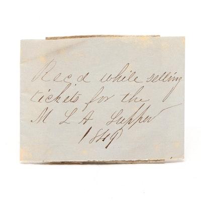 1841 Bank of Orange County Vermont Obsolete Three Dollar Note