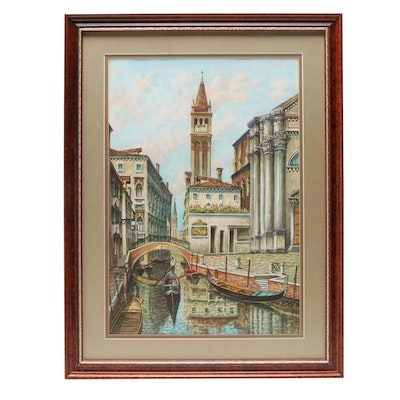 Saverio de Bello Venice Canal Gondola Watercolor Painting
