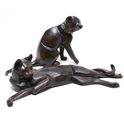 Border Fine Arts Studios Walnut Cat Figurines, 1999