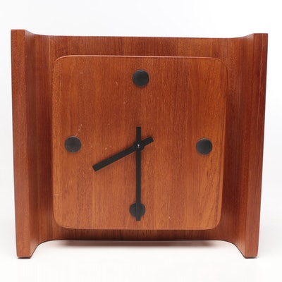 Danish Modern Style Cherry Finish Desk or Wall Clock, Mid to Late 20th Century