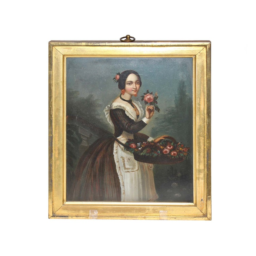 19th Century Continental Style Portrait Oil Painting