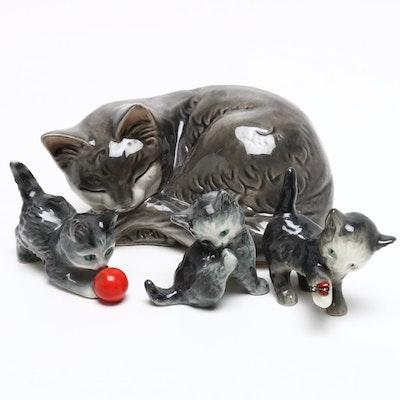 Goebel Sleeping Cat Porcelain Figurine with More Goebel Cat Figurines