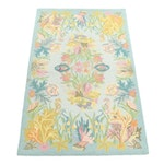 Hand-Hooked Savoy Petit Hook Chinese Wool Rug with Sea Life Pattern