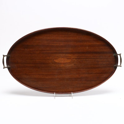 Edwardian Inlaid Mahogany Oval Serving Tray, Early 20th Century