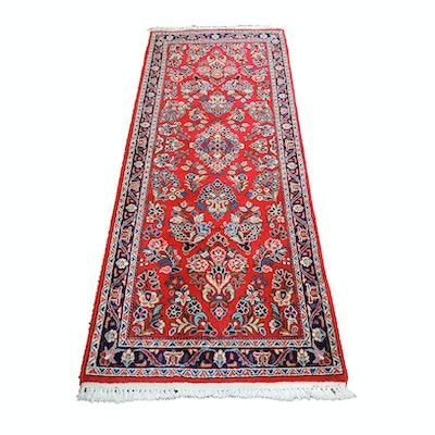 Hand-Knotted Indo-Persian Sarouk Wool Carpet Runner
