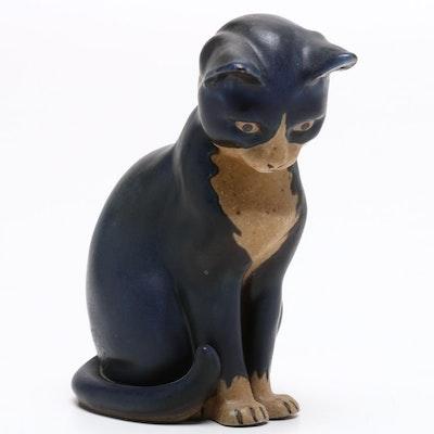 Bing & Grøndahl Painted Stone Cat Figurine