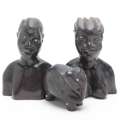 African Ebony and Bone Sculptures